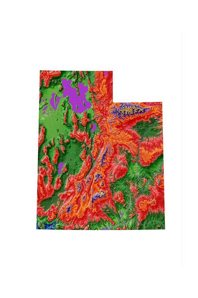 Elevation map of Utah