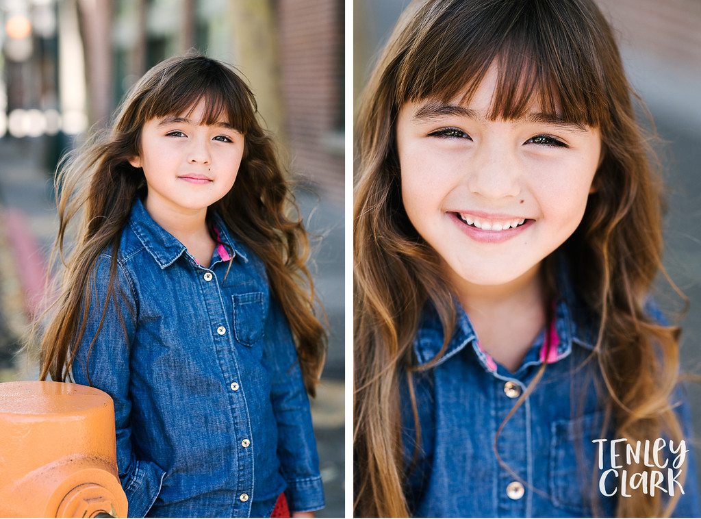 Downtown Pleasanton, CA kids model headshots for JE Model by Tenley Clark Photography.Layla.