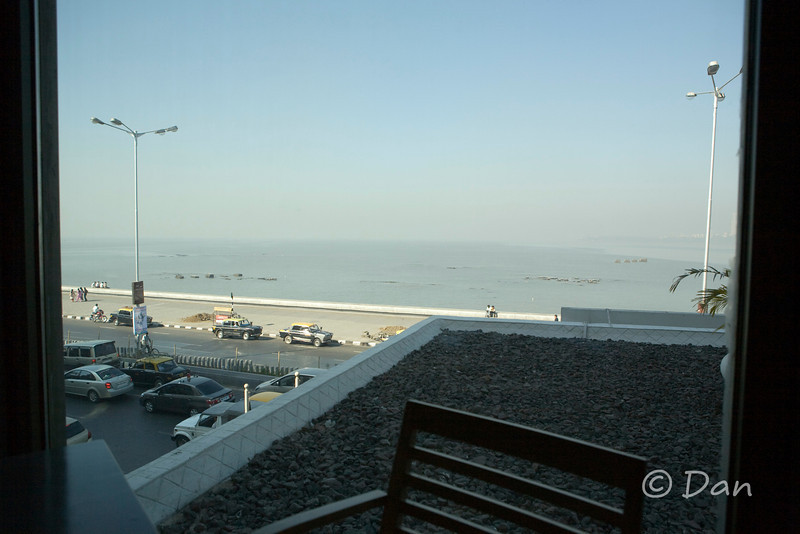 view of Marine Dr. from the hotel restaurant