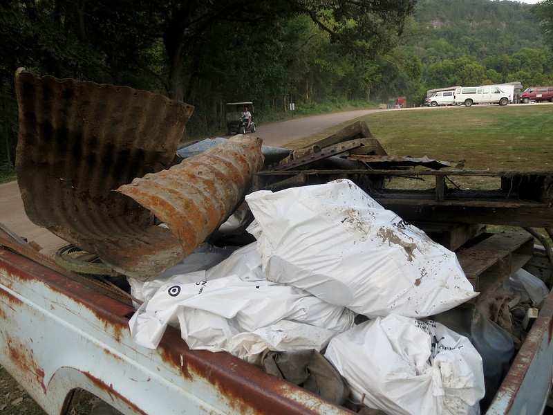 This is all the junk we pulled from an 8 mile stretch of the Root River. A group of Boy Scouts was also picking up trash.