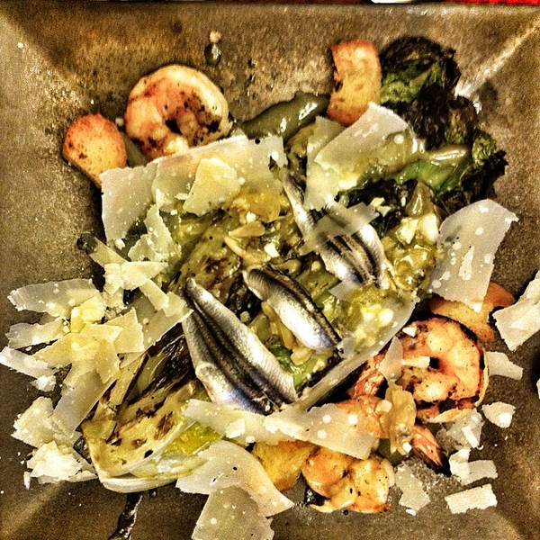 On the table tonite: grilled #shrimp #Caesar #salad with Italian white #anchovies #food #foodie #jux