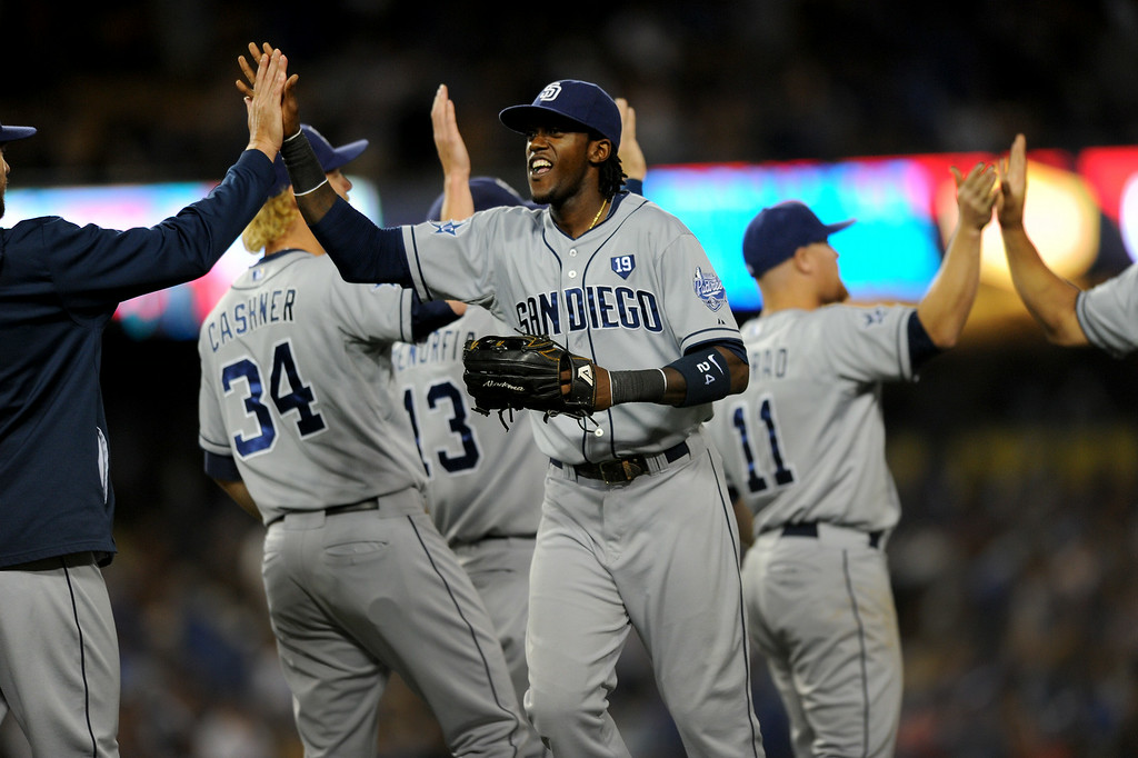 . The Padres celebrate beating the Dodgers 6-3, Friday, July 11, 2014, at Dodger Stadium. (Photo by Michael Owen Baker/Los Angeles Daily News)