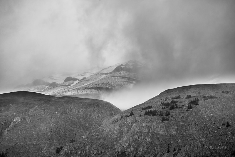 View of Mt Athabasca on the Icefield Parkway. Heavy clouds the entire trip from Lake Louise to Jasper.