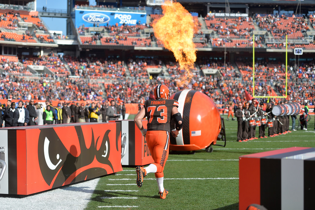 . Cleveland Browns tackle Joe Thomas (73) runs on the field before an NFL football game against the New York Giants, Sunday, Nov. 27, 2016, in Cleveland. The Giants won 27-13. (AP Photo/David Richard)