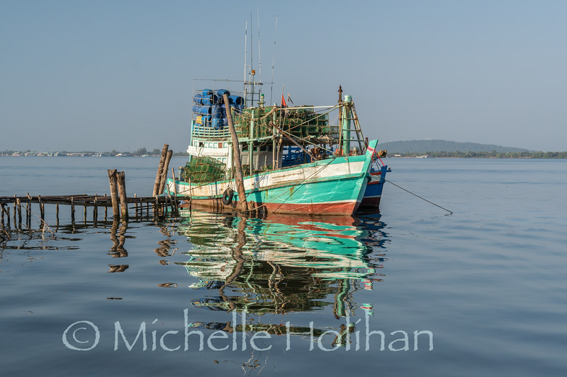 Boats near Koh Kong City, Cambodia