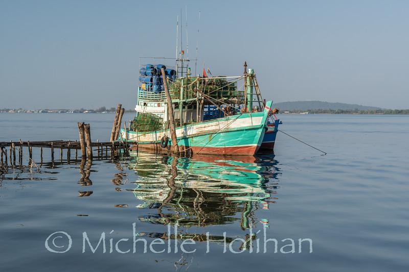 Boats near Koh Kong City, Cambodia