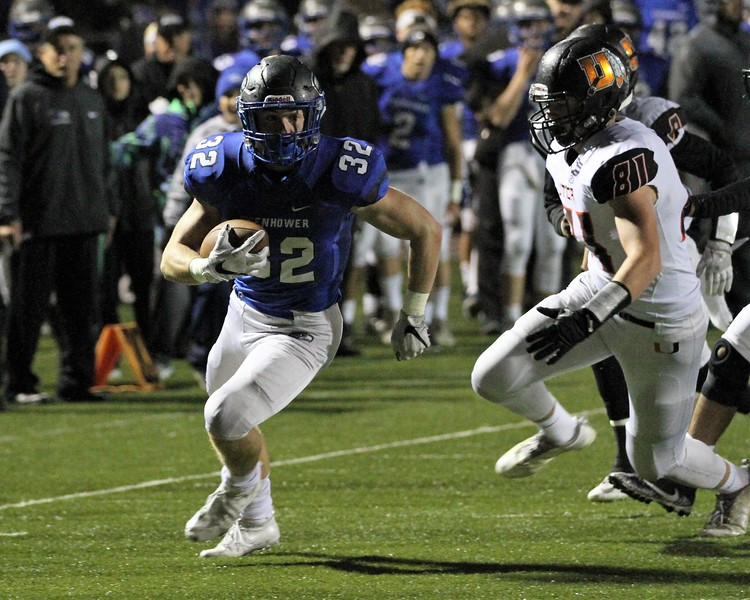Caleb Oyster puts Eisenhower up 6-0 over Utica with 7:02 left in the 1st quarter after taking a pitch from quarter back Max Wittwer. Eisenhower continues to roll with a 52-0 win over Utica on Friday, October 27, 2017. Macomb Daily photo gallery by George Spiteri.