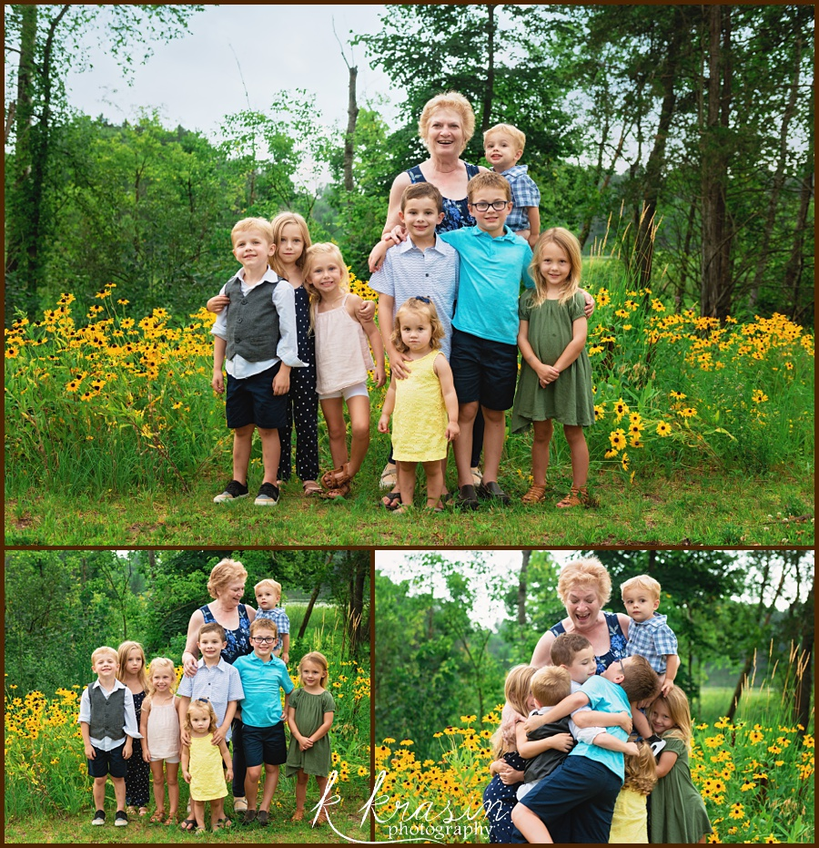 Collage of photos of grandma and grandkids