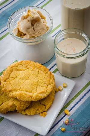 A Momofuku Milk Bar spread: Corn Cookies, Cereal Milk Ice Cream and cold Cereal Milk. © 2013 Sugar + Shake