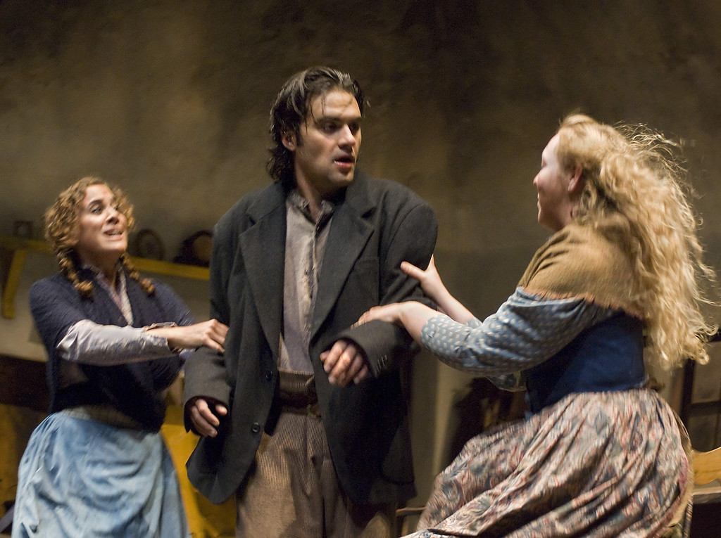 ". Elise Youssef as Sara Tansley, Cody Nickell as Christy Mahon and Ferin Petrelli as Susan Brady in Shakespeare Santa Cruz\'s 2007 production of ""The Playboy of the Western World.\"" (Sentinel file)"