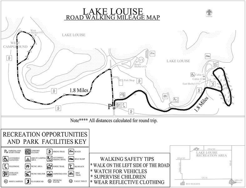 Lake Louise Recreation Area (Road Walking Map)