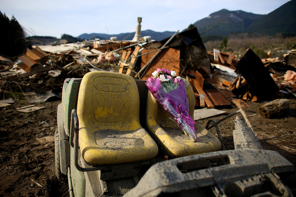 . A bouquet of flowers left for victims sits perched on the seat of an abandoned vehicle in the wreckage of homes destroyed by Saturday\'s mudslide, Monday, March 24, 2014, near Oso, Wash. The search for survivors grew Monday to include scores of people who were still unaccounted for as the death toll from the wall of trees, rocks and debris that swept through a rural community rose to at least 14. (AP Photo/seattlepi.com, Joshua Trujillo)