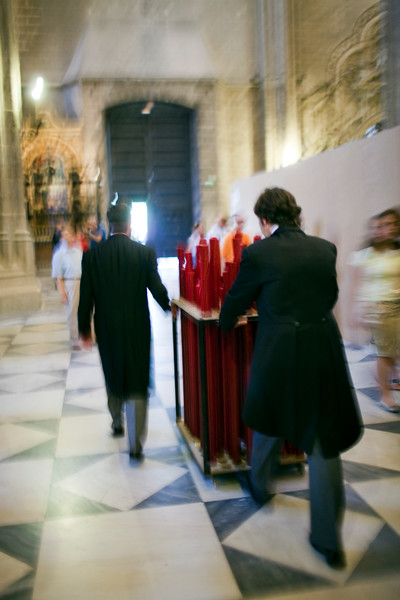Putting away the candles after the Corpus Christi procession, Seville, Spain, 2009.