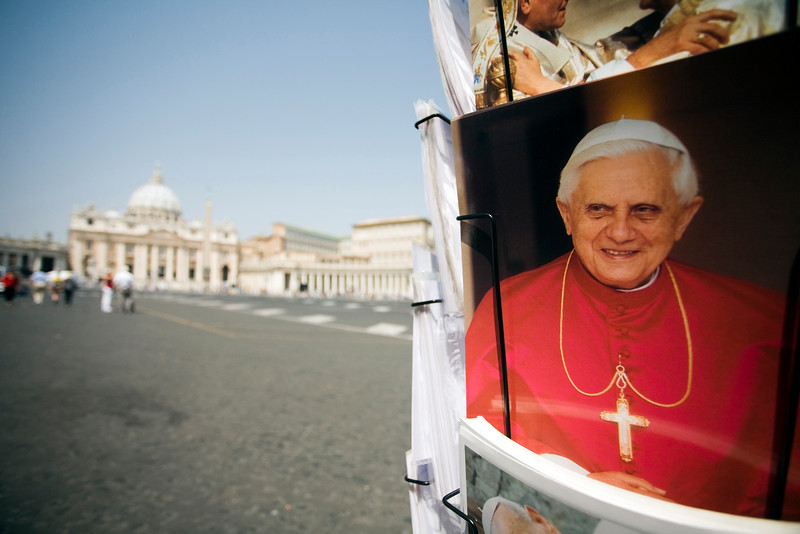 Vatican postcards with the image of the pope Benedict XVI, Vatican city