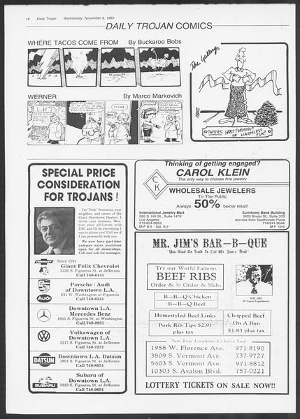 Daily Trojan, Vol. 100, No. 46 [sic], November 06, 1985