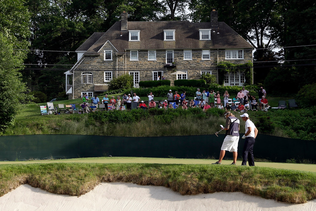 . Nicolas Colsaerts, of Belgium, waits to putt on the 11th hole during the third round of the U.S. Open golf tournament at Merion Golf Club, Saturday, June 15, 2013, in Ardmore, Pa. (AP Photo/Gene J. Puskar)