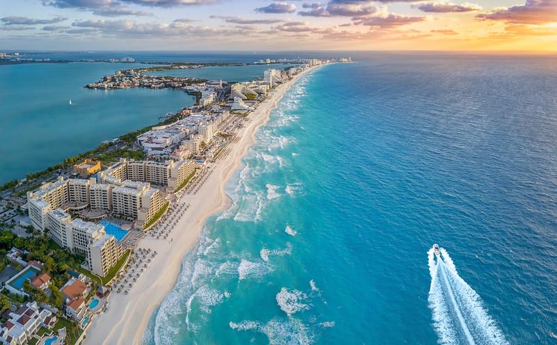 Cancun coast during sunrise