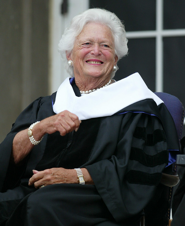 . Barbara Bush, the former first lady and mother of the current president, smiles after receiving an honorary doctor of humane letters degree, Thursday, Aug. 25, 2005, at Albion College in Albion, Mich. (AP Photo/Al Goldis)