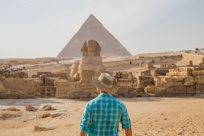 David Stock Jr of Divergent Travelers Adventure Travel Blog at The Giza Necropolis in Egypt