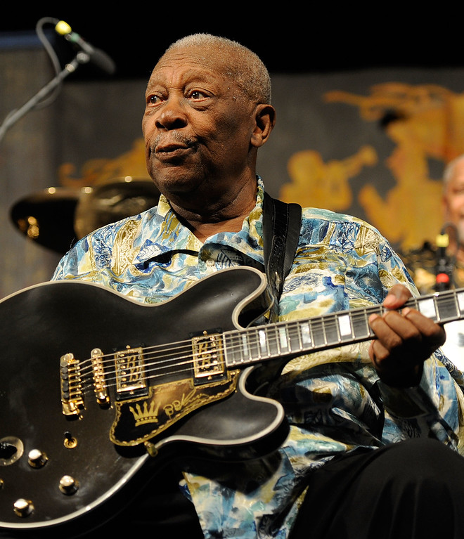 . Guitar Legend B.B. King performs at the 2010 New Orleans Jazz & Heritage Festival Presented By Shell - Day 7 at the Fair Grounds Race Course on May 2, 2010 in New Orleans, Louisiana.  (Photo by Rick Diamond/Getty Images)