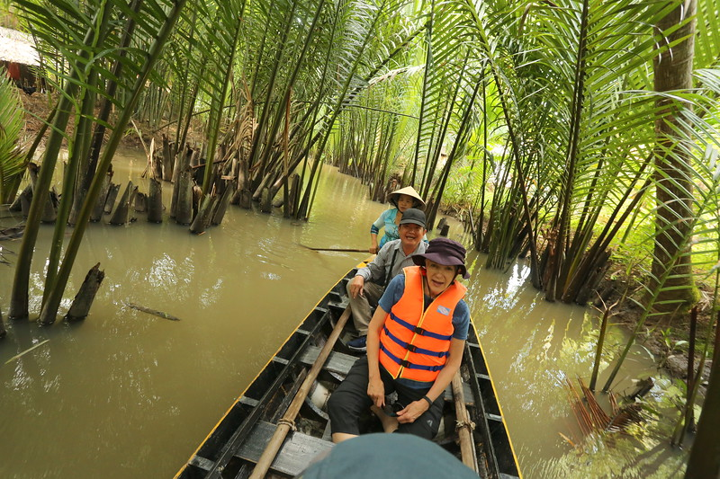 Exploring in the canoe with our guide Phuc