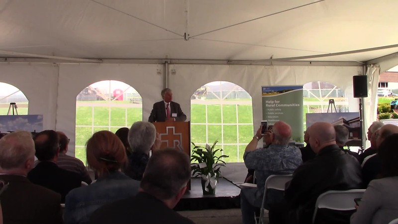 Thomas Huebner addresses the guests during the ground breaking ceremony of the Thomas W. Heubner Medical Office Building.