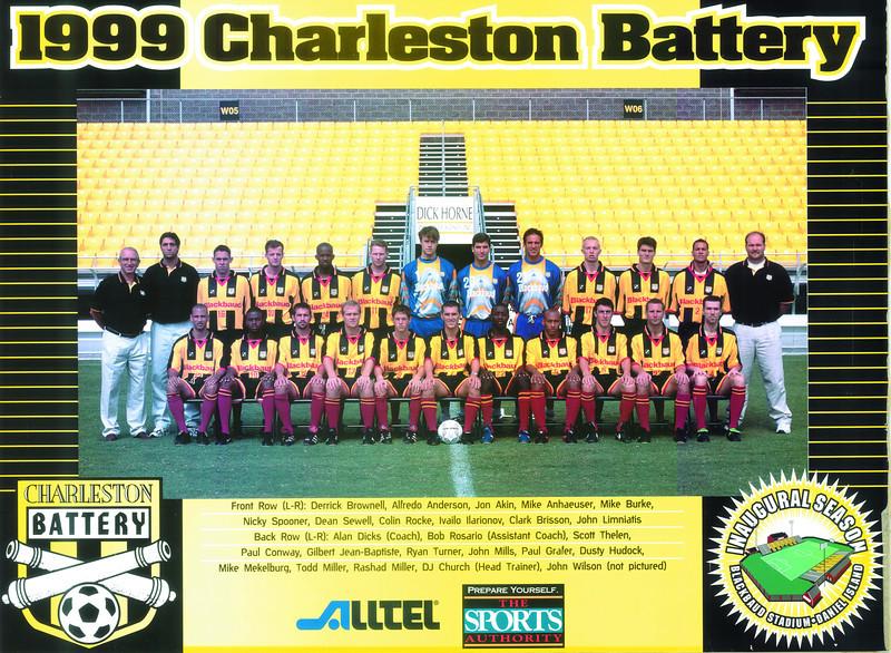 1999 Charleston Battery home jersey.  Sponsor Blackbaud.  Inaugural season at Blackbaud Stadium.
