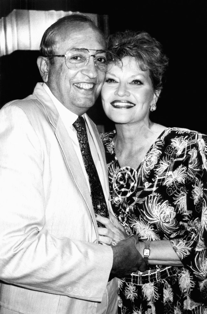 . Singer Patti Page poses with her husband of seven weeks, Jerry Filiciotto, at Rainbow and Stars club, July 4, 1990 in New York. Page opened on Tuesday in her cabaret performance at the club. (AP Photo/Aubrey Reuben)