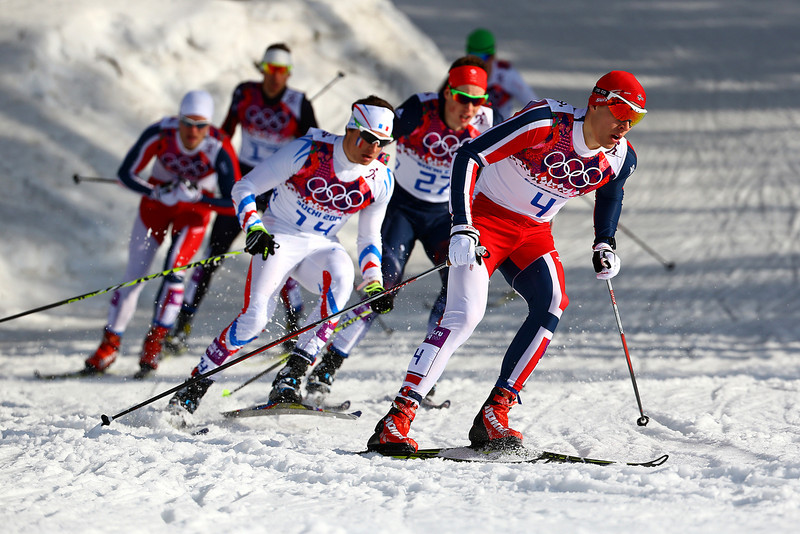 . Anders Gloeersen of Norway leads the pack in Finals of the Ladies\' Sprint Free during day four of the Sochi 2014 Winter Olympics at Laura Cross-country Ski & Biathlon Center on February 11, 2014 in Sochi, Russia.  (Photo by Doug Pensinger/Getty Images)