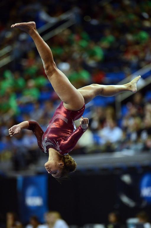 . Alabama\'s Diandra Milliner on the balance beam during the NCAA 2013 Gymnastics Championships at UCLA\'s Pauley Pavilion Friday, April 19, 2013. (Hans Gutknecht/Staff Photographer)