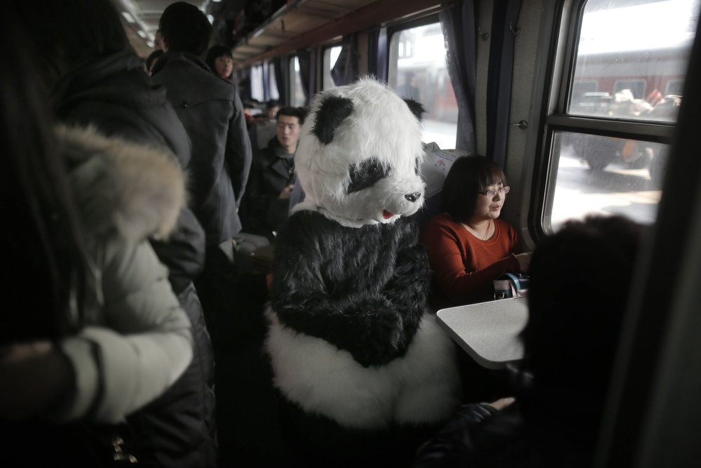 . A lady wearing a panda costume on the first day of the Spring Festival travel season rides a train back to Cangzhou in Hefei from Beijing. The lady, together with three other friends, said she would like to feel the special atmosphere of the Spring Festival traveling in this way.  AFP PHOTOSTR/AFP/Getty Images