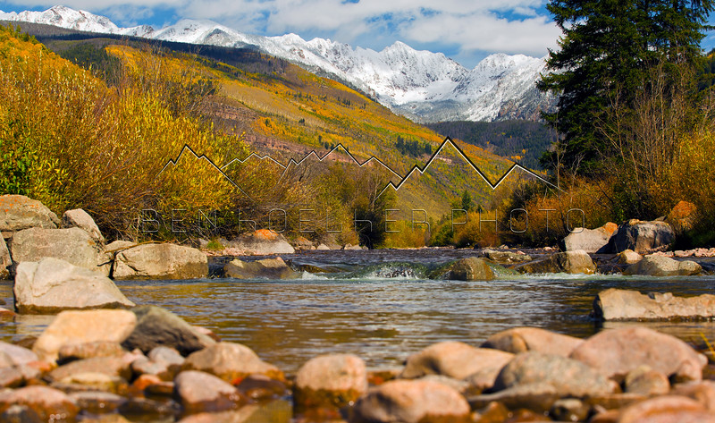 The Grand Traverse in the Gore Range towering above Gore Creek in Vail, CO