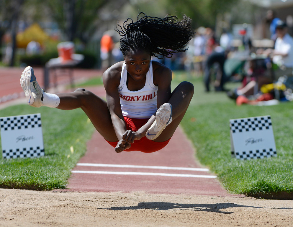 . LAKEWOOD, CO - MAY 16:  Zainab Sanni, Smoky Hill High School, during the girls 5A long jump final at the 2013 Colorado State Track and Field Championships at Jeffco Stadium May 16, 2013. (Photo By Andy Cross/The Denver Post)