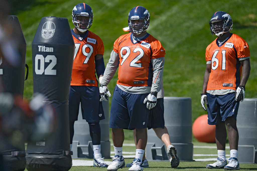 . 5. How is first-round draft choice Sylvester Williams progressing? Can he be counted on for major help this season, or he is a year away?  The Broncos had hoped Williams would start the opener at defensive tackle, but that was not realistic. Green Bay defensive tackle B.J. Raji was the No. 9 pick in the 2009 draft, and he started only one game as a rookie. Defensive tackle is one of the toughest positions for rookies to make an impact. The adjustment from college competition is too great. Williams will be a rotational player, so he will be in there 15 to 20 plays a game. Whether he gets more depends on him. Until then, Terrance Knighton and Kevin Vickerson are the defensive tackle starters in the base defense, and Derek Wolfe and Malik Jackson will play defensive tackle in the nickel. Williams will see action in both the base and the nickel.  Above: John Youboty (79) Sylvester Williams (92) and Lanston Tanyl (61) of the Denver Broncos look on during drills during the last day of rookie mini camp May 12, 20313 at Dover Valley. (Photo By John Leyba/The Denver Post)
