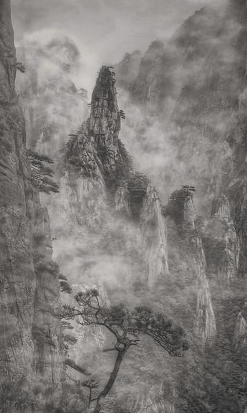 "Foggy Huangshan. 16""x 26"""