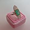 4.05ct Emerald and Old European Cut Diamond Ring 7