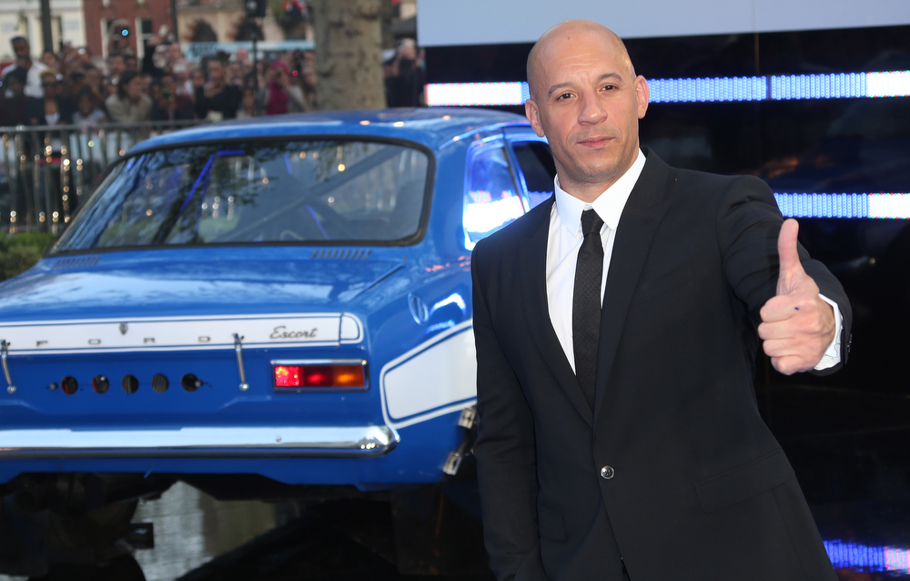 . Actor Vin Diesel arrives for the World Premiere of Fast & Furious 6, at a central London cinema in Leicester Square, Tuesday, May 7, 2013. (Photo by Joel Ryan/Invision/AP)