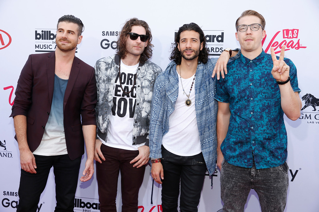 . Mark Pellizzer, from left, Ben Spivak, Nasri, and Alex Tanas of the musical group Magic! arrive at the Billboard Music Awards at the MGM Grand Garden Arena on Sunday, May 17, 2015, in Las Vegas. (Photo by Eric Jamison/Invision/AP)