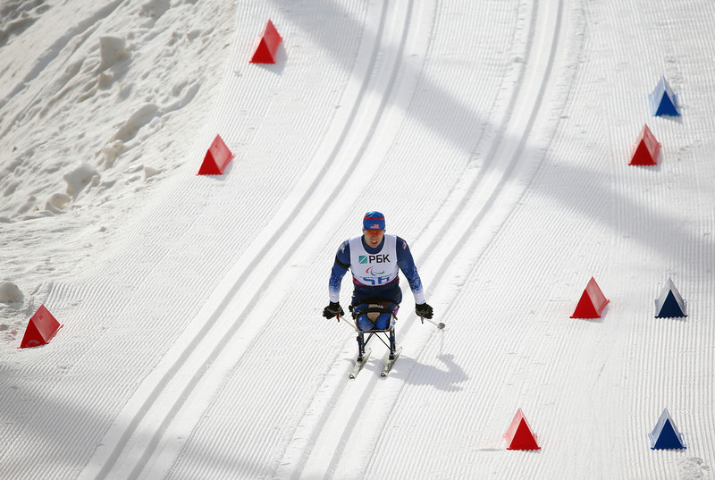 . Andrew Soule of USA competes in the Men\'s 7.5KM Sitting Biathlon event during day one of Sochi 2014 Paralympic Winter Games at Laura Cross-country Ski & Biathlon Center on March 8, 2014 in Sochi, Russia.  (Photo by Ronald Martinez/Getty Images)