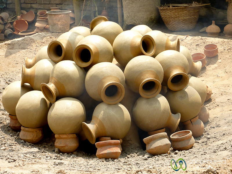 Ceramic Pots Cooking Over Kiln - Najirpur, Bangladesh