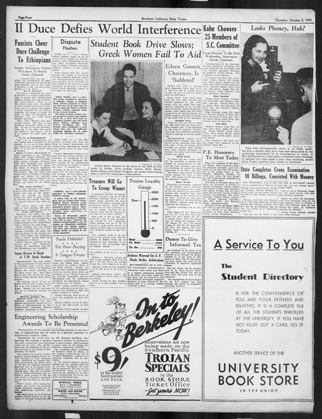 Daily Trojan, Vol. 27, No. 10, October 03, 1935