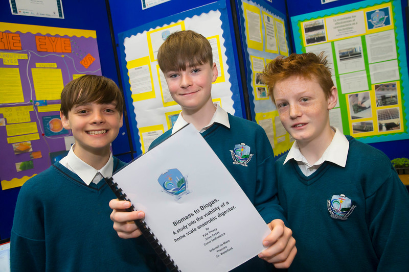 01/05/2018. SciFest at WIT (Waterford Institute of Technology) at the Arena, Pictured are Kyle Tracey, Jules Casy and Conor McGoldrick from Ard Scoil Na Mara, Tramore. Picture: Patrick Browne
