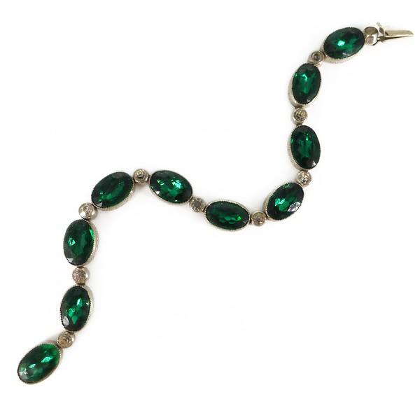 Vintage Art Deco Czech Bezel Set Green Paste Bracelet