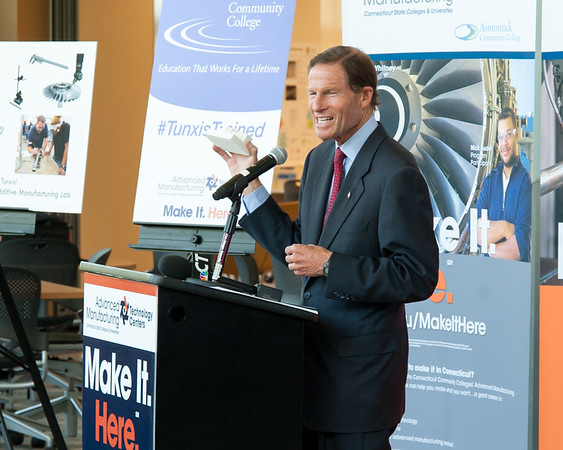 08/10/18 Wesley Bunnell | Staff Senator Richard Blumenthal holds up a 3d printed model of Tunxis Community College during a conference at the school on Friday regarding the importance of the new advanced manufacturing program offered by the school and the demand for advanced manufacturing jobs within Connecticut.
