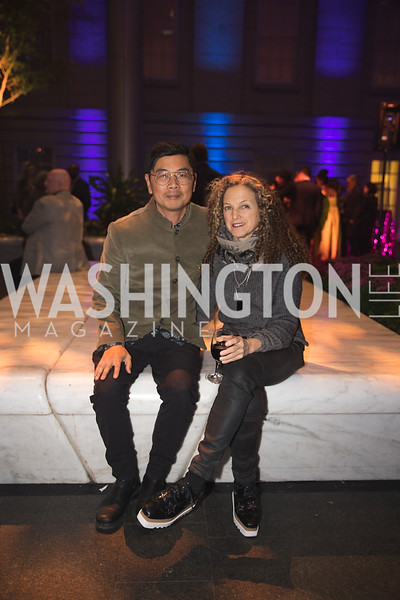 "Byron Kim, Lisa Sigal. Photo by Bruce Allen. National Portrait Gallery ""Face Forward"" Artist Party."