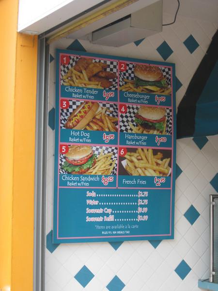 Be-Bop Diner menu.