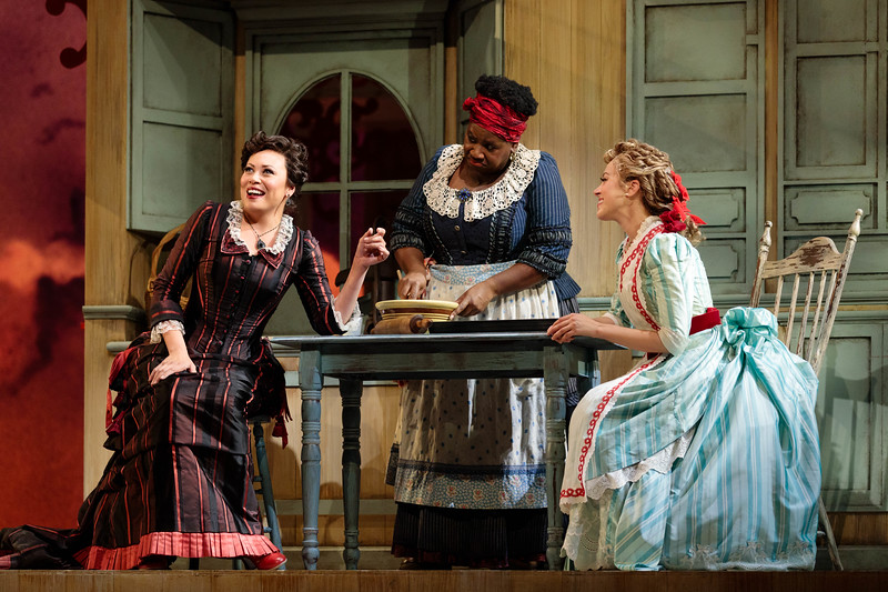 "(From left) Alyson Cambridge as Julie La Verne, Judith Skinner as Queenie and Lauren Snouffer as Magnolia Hawks in The Glimmerglass Festival's 2019 production of ""Show Boat."" Photo Credit: Karli Cadel/The Glimmerglass Festival"