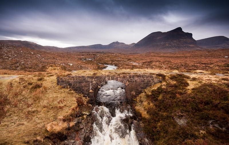 Mountain stream and old road bridge on Quinag, Scotland