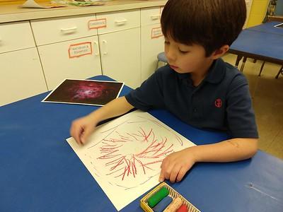 Kindergarten Alma Thomas-inspired Universe Paintings