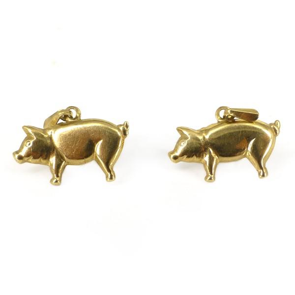 Vintage 9ct Gold Little Pig Drop Earrings